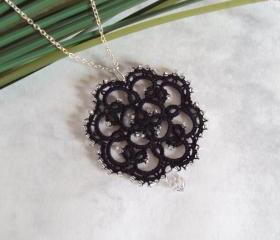 Beaded Black Lace Pendant in Tatting