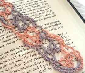 Shell Pink And Antique Violet Lace Bookmark