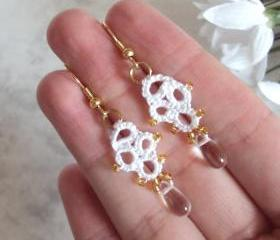 White And Gold Lace Earrings