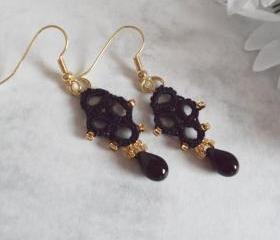 Black And Gold Beaded Lace Earrings