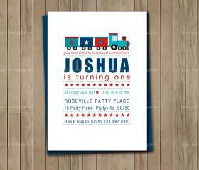 Train Party Invite, Red, Navy and Blue