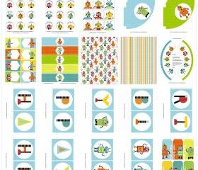 Robot Party Printable Set - Banner, Circles, Papers, Hats, Tags and more.