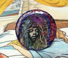 JIMI HENDRIX colorful glitter resin ring, ooak