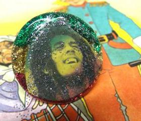 BOB MARLEY statement glitter resin ring, ooak