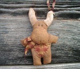 Primitive Moose Doll Ornament - Christmas Tree - Homespun Scarf and Hanger or With Christmas Tree - 3 Colors-Styles