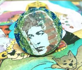 BOB DYLAN glitter resin ring ooak