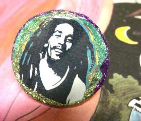 BOB MARLEY glitter resin ring, psychedelic, hippy, ooak