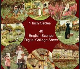 English Scenes Digital Collage Sheet - 1 Inch Circles x 48 - Perfect for Jewelry, Bottle Caps and much more