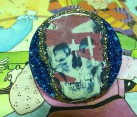 SKULL GRATEFUL DEAD glitter resin ooak handmade ring
