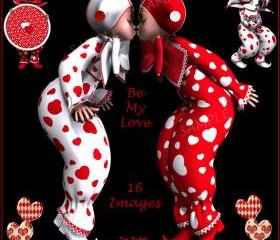 Be My Love - 16 Romantic Images of Pixie Clowns or Harlequins -Digital Clip Art for Scrapbooking, Birthday Card Making & More