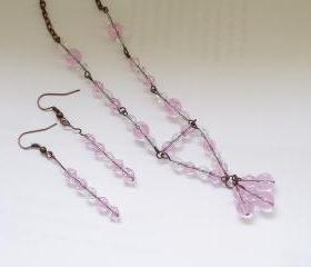 Pink Crystal Necklace with Antiqued Copper