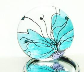 Pocket mirror stunning Blue floral