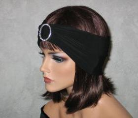 .Handmade Rhinestone Open Crown Turban -Black