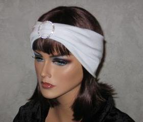 Made to order Handmade Rhinestone Open Crown Turban -White