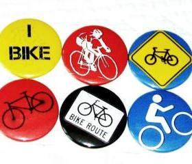 Bike, bicycle, I Bike Fridge magnets by Badge Bliss Set of 6 refrigerator magnets