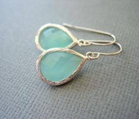 Aqua Earrings, Mint Green Earrings, White Gold, Teardrop, Dangle Earrings, Wedding Jewelry