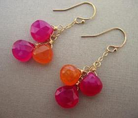 Orange and Pink Earrings, Gemstone Jewelry, Fuschia, Gold Earrings