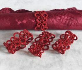 Set of Four Red Tatted Napkin Rings