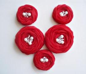 Red Roses Handmade Appliques Embellishments(5 pcs)