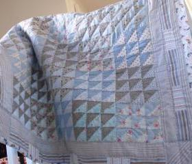Patchwork quilt baby quilt blue quilt lap quilt wall hanging
