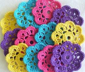 Handmade Flower Mini Doilies, Appliques, Embellishments - set of 12