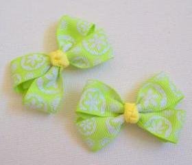 Mini Boutique Bow Pair - Neon Green, White, Yellow