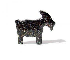 Black Goat Figurine with Rainbow Glitter