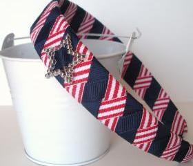 Star Bling Headband: one inch wide headband made from navy red/white stripe ribbon