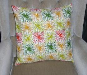 Decorative Accent Pillow Cover - 18 x 18 - Tangerine Orange, Cream, & Green Colored Floral Contemporary