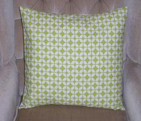 Decorative Accent Pillow Cover - 18 x 18 - Green & Cream Colored Contemporary Pattern