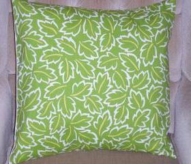 Decorative Accent Pillow Cover - 18 x 18 - Green, Yellow & Cream Colored Contemporary Leaf Pattern