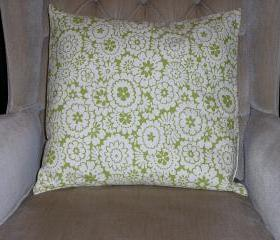 Decorative Accent Pillow Cover - 18 x 18 - Green & Cream Colored Floral Contemporary