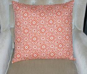 Decorative Accent Pillow Cover - 18 x 18 - Tangerine Orange & Cream Colored Floral Contemporary