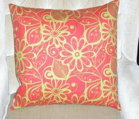 Decorative Accent Pillow Cover - 18 x 18 - Tangerine Orange & Colored Floral Contemporary Pattern