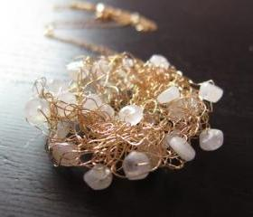 Moonbeam Necklace: knitted wire with moonstones on a 24' gold filled chain
