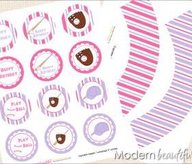 Printable Cupcake Toppers and Wrappers Pink Purple Girl Baseball Softball Party Mit Glove Bat