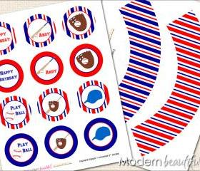Printable Cupcake Toppers and Wrappers Baseball Softball Party Mit Glove Bat
