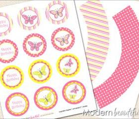 Printable Cupcake Toppers and Wrappers Butterfly Party Pink Yellow Polka Dot Stripe