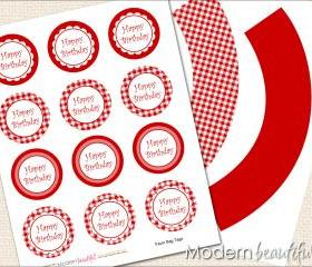 Printable Cupcake Toppers and Wrappers Red Gingham Party