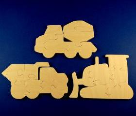 Construction Party Favors - Package of 9 Wood Construction Vehicle Puzzles
