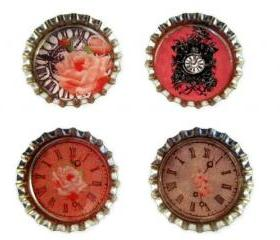 Magnets, Bottle Cap Magnet Set with Shabby Chic Clocks Images, Bottle Cap Art