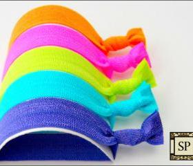 Hair Ties - The Neon Collection - Set of 5 - Elastic Hair Ties - Mane Accessory