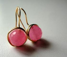 Natural Pink Jade Gemstone Golden Wire Wrapped Earrings