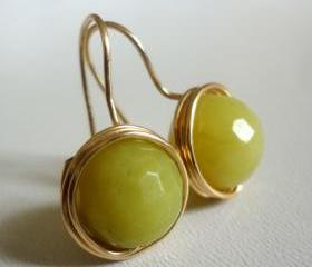 Lemon Jade Gemstone Golden Wire Wrapped Earrings
