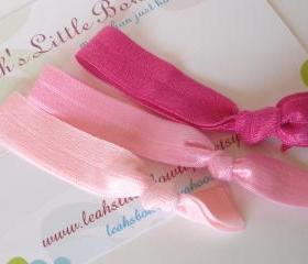 Pink Hair Ties: set of three pink baby pink and hot pink