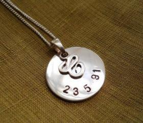 personalized necklace personalized initial necklace handstamped necklace charm necklace