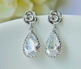 Bridal Earrings. Teardrop Cubic Zirconia Rose Post Earrings. Silver Rose. Wedding. Prom.