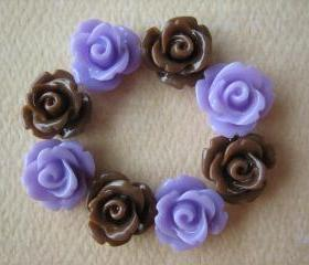 8PCS - Mini Rose Flower Cabochons - 10mm - Resin - Lilac and Brown - Cabochons by ZARDENIA