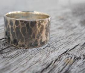 Wide rustic hammered band Unisex
