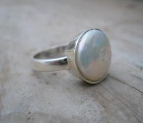 round pearl silver ring fresh water pearl